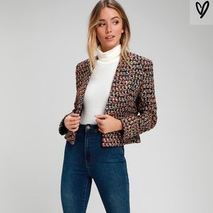 LADY LUXE GOLD & BLACK PLAID TWEED CROPPED JACKET